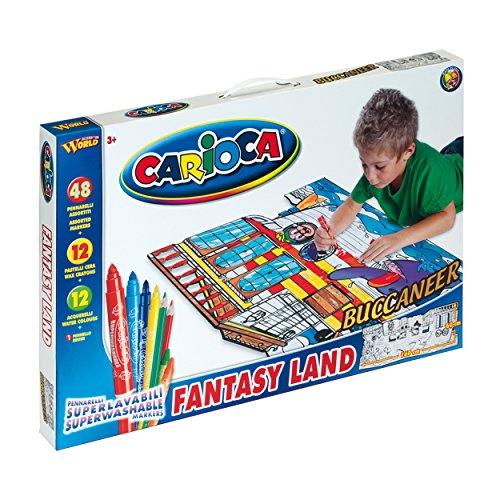Carioca Fantasy Land - Imagen para colorear, 160 x 60 cm, incluye 48 rotuladores con tinta lavable, 12 lápices de acuarela y 12 ceras, diseño de piratas