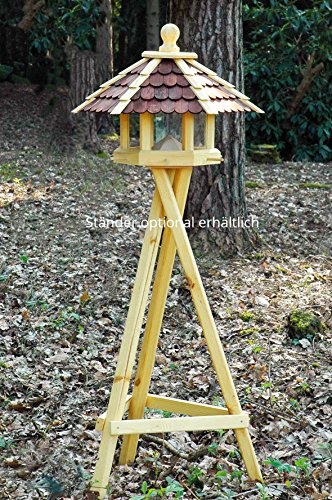 dobar 44136e Großes XXL Vogelhaus aus Holz (Kiefer) für Garten, Balkon, mit dunklen Holzschindeln, Silo mit Futterpyramide, 6 Anflugstangen für Vögel – XL Vogelhäuschen Vogelfutterhaus - 2