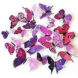 Tinksky 24 Packs Wand Aufkleber 3D Schmetterling Wandtattoo Kühlschrank Magnete Kühlschrank Whiteboard Magnete