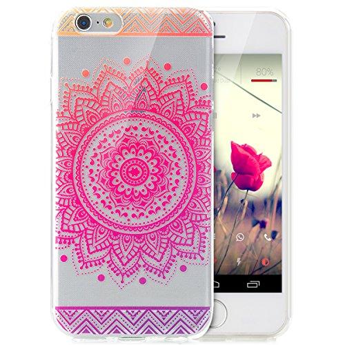 iPhone 6S Plus Hülle,iPhone 6 Plus Hülle,iPhone 6S Plus / 6 Plus Schutzhülle Case,ikasus® TPU Silikon Schutzhülle Case Hülle für iPhone 6S Plus / 6 Plus,Durchsichtig mit Indische Sonne Schmetterling B Farbverlauf Mandala Blumen #4