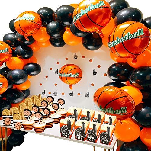Basketball Lieferungen von Parteien, Basketball Folienballons, Latex Ballons, Finger Basketbälle Papier Konfetti für Jungen Sport Thema Geburtstag, Jungen World Sports Game Celebration Dekor