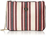 Tommy Hilfiger Honey Flat Crossover Canvas Stripe, Women's Cross-Body Bag, Beige (Rwb...
