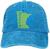 fuyon Men And Women Minnesota State Outline Vintage Jeans Baseball cap HJASKJDSNAHIWQASD 9544