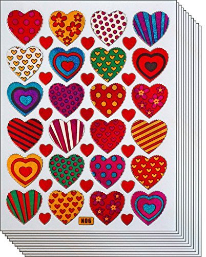 Jazzstick 240 Colorful Valentine Heart Decorative Sticker 10 sheets (VST01A06) by Jazzstick