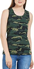 Delhitraderss Women's Military Army Print Regular Fit Top(Sleevless)(Size-L)