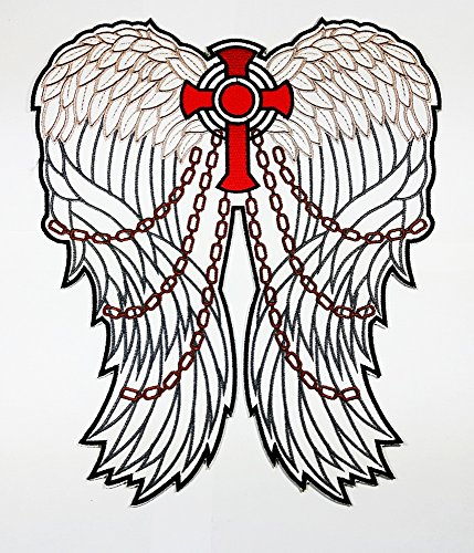 Big Kreuz Christian Jesus Engel Flügel Patch Weste/Jacke Biker Patch Motorrad Fahrer Biker Tattoo Jacke T-Shirt Patch Sew Iron on gesticktes Schild Badge