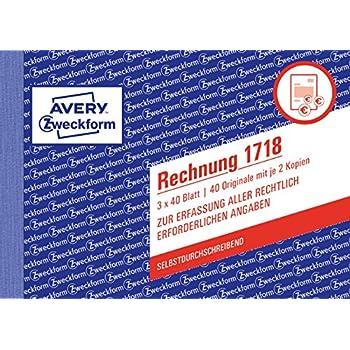 Avery Zweckform Formularbuch Gutschein blau A6 quer 2x50 Blatt Gutschein Beleg