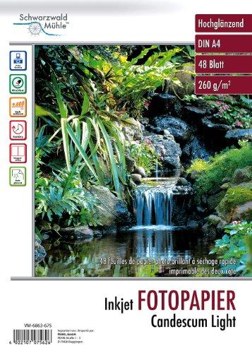 "Schwarzwald Mühle Fotopapier Inkjet: 48 Bl. Fotopapier\""Candescum\"" 2-seitig Glossy (Inkjet-Drucker-Papier)"