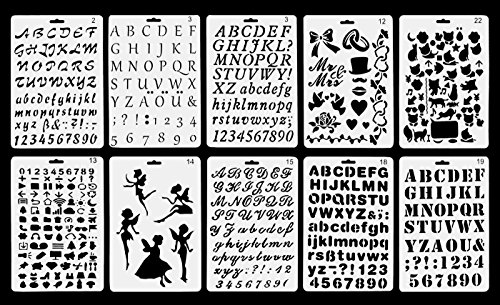 Vancol Kunststoff Kugel Journal Schablone Schablone Satz von 10 mit Buchstaben Nummer Alphabet, perfekt für Planer / Notebook / Tagebuch / Scrapbook / Graffiti / Karte, DIY Zeichnung Malerei Handwerk (Alphabet-schablone Karten)