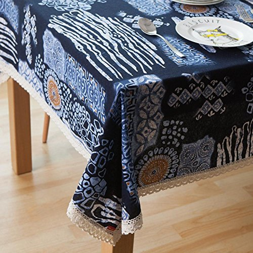 National Style Personality Pattern Tablecloths Anti-Hot Insulation Cotton Table Cloth Rectangular Dustproof Cover Towel for Restaurant and Tea Room , With lace , 140*200cm