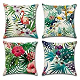 Best Plaid Plantes d'intérieur - Freeas Housse De Coussin, Lot DE 4 Tropical Review