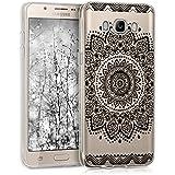kwmobile Étui transparent en TPU silicone pour Samsung Galaxy J5 (2016) DUOS en noir transparent Design fleur
