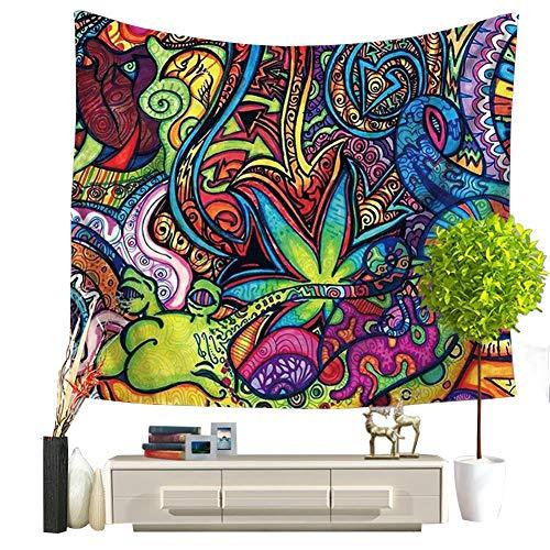 QEES Wandteppich, böhmisch,Trippy Tattoo-Stil, Wanddekor, bunt, Tischdecke Strandtuch Wandtuch Wandbehang GT44,Stil 3,Größe 200 x 150 cm