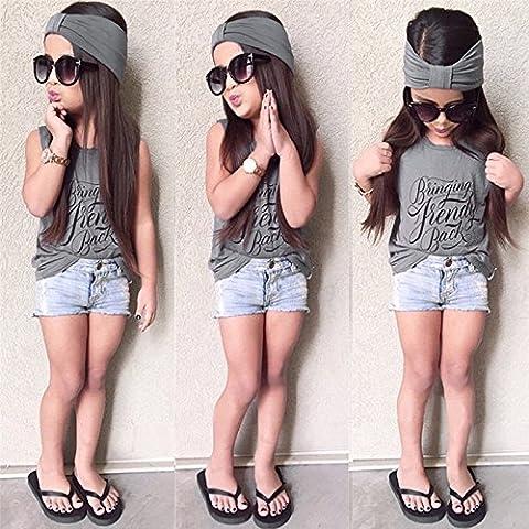 wynce (TM) BS # S Nuevo niña ropa camisa Denim pantalones cortos juego de sábanas Niñas Verano