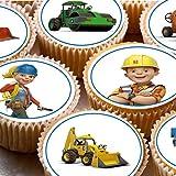 24Kuchen Topper 4cm auf Zuckerguss Cupcake Bilder–NEW Bob der Baumeister