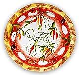 Lashuma handgemachter Pizzateller Paprika aus italienischer Keramik, großer Teller rund ca. 33 cm