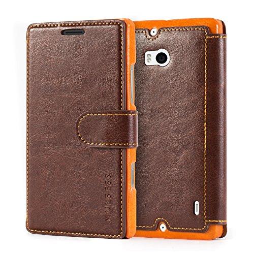 Mulbess Layered Dandy Ledertasche im Bookstyle & Kartenfach für Microsoft Nokia Lumia 930 hülle Tasche Leder,Vintage Braun