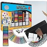 Daler Rowney - Set complet de 115 pieces - Mini créative pour enfants et adultes - Peinture acrylique, crayons, pinceaux