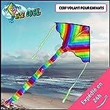 Kite Cool  Grand Cerf Volant pour enfant Grande taille, hyper coloré - QUALITÉ PRÉMIUM - Jouez au grand air avec votre enfant - Jouet qui rassemble les générations, 3 à 77 ans !