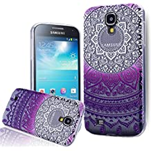 We Love Case Funda para Samsung Galaxy S4 Carcasa Tribal Étnico Diseño Funda Silicona Gel TPU Bumper Case Cover Flexible Carcasa Transparente Cubierta de Teléfono Absorción Choques Resistente a los Arañazos - Mandala Violeta Púrpura Gradiente