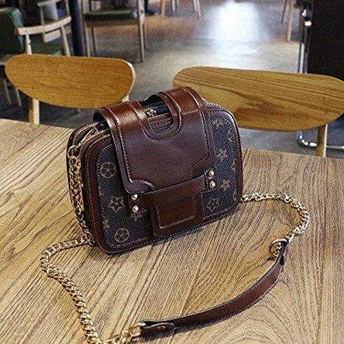 Weibliche Kette Mode Schulter Messenger Alte Blume Hand mit Kleinen Quadratischen Tasche Braun