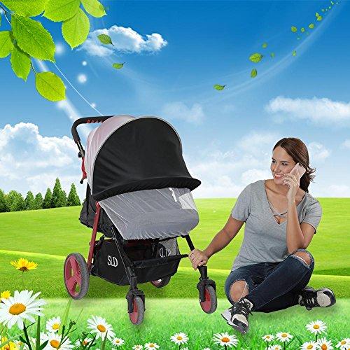Chirsemey Kinderwagen Moskitonetz Universelles Kinderwagen Insektenschutz Faltbares Anti-UV Sonnenverdecke, 1 STÜCK Kindly