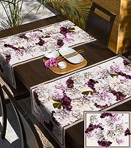 140x180 creme rosa pink erika lila Blumen 100% Baumwolle Tischdecke Tischtuch ornamente Form fleckgeschützt wasserabweisendes Material pflegeleicht praktisch Blumenmuster Blumenmotive Modern Folk Frühling Flower