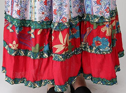 Feoya - Jupe Longue Femme Classique Impression Style National Large Taille unique (Longue 90cm) Rouge
