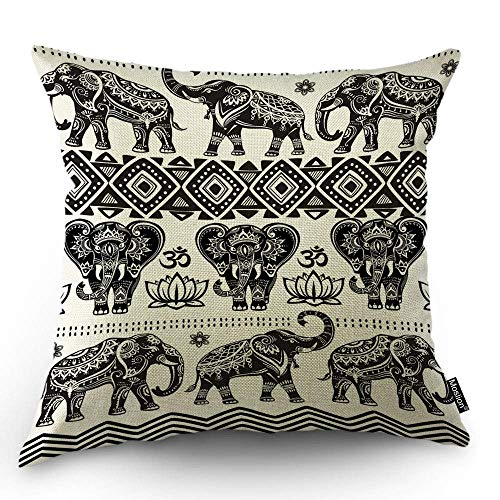 odin sky Elefante Decorativo Funda de Almohada Bosquejo Animal Africano Azteca Étnico...
