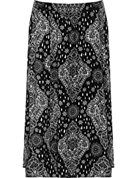 e90c71c8ac844d WearAll - Damen Plus Elastische Taille Strecke Paisley Druck Damen Midi-  Rock - 44-