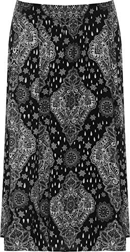 Wearall Women's Plus Elasticated Waist Stretch Paisley Print Ladies Midi Skirt 16-30