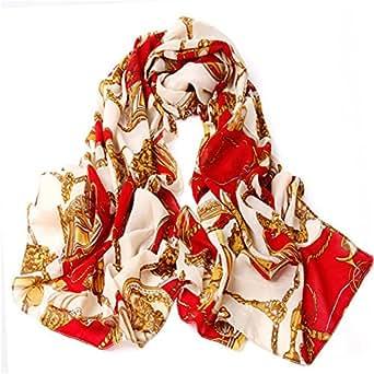 Retro Chaîne Manille roue imprimé foulard des femmes écharpe(Rouge)