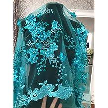 FN3D Vestido de encaje floral para novia/boda bordado flor de tela festoneado recortado 130