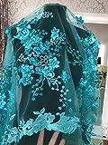 Encaje floral nupcial/vestido de novia FN3D, flores bordadas con cuentas, y adornos de aplicaciones de tela tipo vieira, 130 de ancho, aguamarina, 2 yard