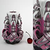 Candela Intagliata a Mano Rosa e Grigia - Fantastica Decorazione Interna Scolpita a Mano Artisticamente - EveCandles