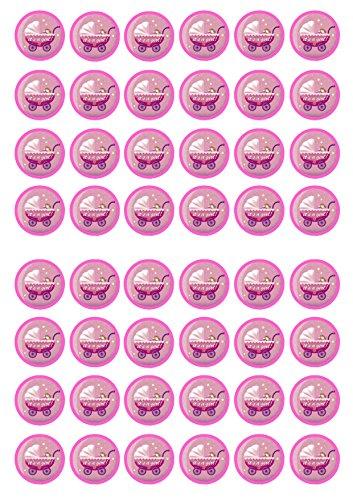 48 It's A Girl #3 Baby Shower, 48 Seine junge Baby-Dusche, Essbare PREMIUM Dicke GEZUCKERTE Vanille, Reispapier Mini Cupcake Toppers, Cake Pops, Cookies für - Shower Pops Cake Baby