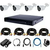 HD CCTV Surveillance System KIT — 4CH DVR, 4 Outdoor, Power Adapter, Cables 20 Meters x 4,HDMI cable x 1,Cat6 cable x 1.