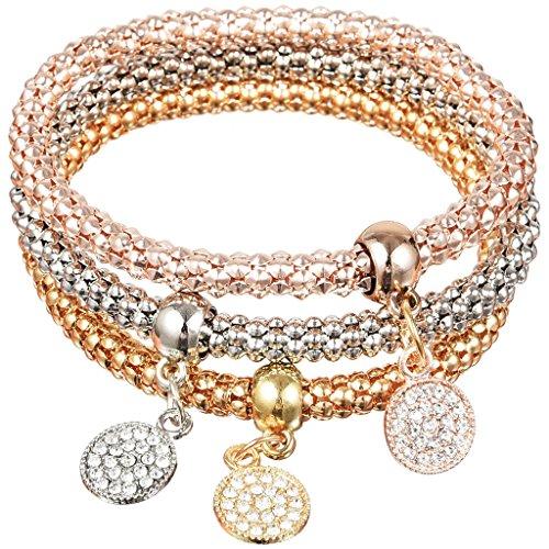 Jiayiqi Femmes Personnalité Diamant Bracelet Clouté Avec Pendentifs Beau 3 Pièces Balise