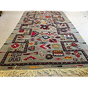Handgewebter marokkanischer Teppich Berber Kelim bunter Teppich Tribal handbestickter Kelim Kamelwollteppich