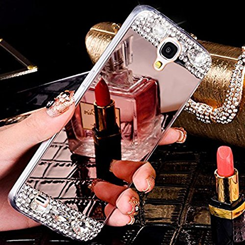JAWSEU Samsung Galaxy S4 Custodia Cover Silicone TPU, Lusso Moda Specchio Bling Glitter Diamante Strass AntiGraffio Antiurto Ultra Sottile Cristallo Morbida Soft Gel Protettiva Bumper Case