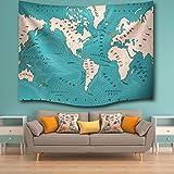 Bolange Handtuch aus Mikrofaser Thin Badetuch Tapisserie Stil - Weltkarte des aktuellen Ozeans Zuhause, Reiseteppich