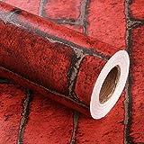 DODOING 45x100cm PVC Moderne Vintage 3D Effekt Imitation Roter Stein Ziegel Tapete Retro Hintergrund Roll Brick Wallpaper für Wohnzimmer Schlafzimmer Küche