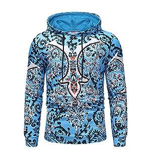 VRTUR Herren Sweatshirt Winter Warm Langarm Drucken Hoodie Mit Kapuze Oberteil T-Shirt Outwear Bluse Kapuzenpullover