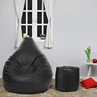 Dr Smith Bean Bag Size - (XXL) with Footstool with Beans Filled, Colour- (Black)