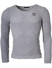 Redbridge Herren Uni Strick Pullover grober Strickpullover einfarbig mit tiefem Rundhals Ausschnitt Slim Fit körperbetont anliegend