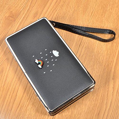 """Le donne Cute bowknot borsa solida borsa Portafoglio Wearable, Sunroyal Multifunzionale [Grande capacità] Smartphone Wristlet Custodia Case Cover per HTC One M8 / M9 (5.0""""), HTC 10 (5.2""""), HTC U11,HTC Modello 42"""