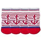 LvRao Katzen Hund Socken Gestreift Haustier Schuhe Pfote Protektoren Antirutsch Stiefel Innen Winter (Rot, XL (11.0*4.0cm))