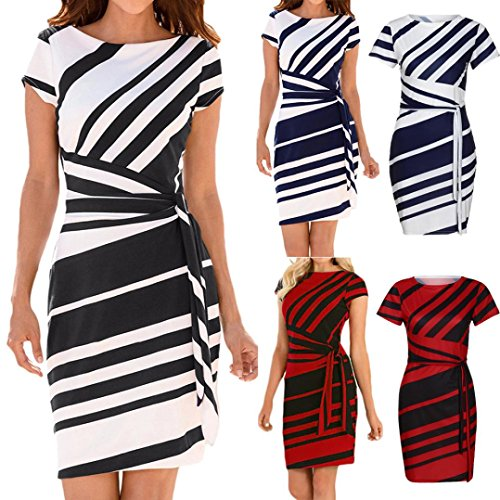 DIKEWANG Ladies Pencil Stripe Dress, Trendy Sexy Women's Summer Red/Black/Navy Stripe White Knot Sheath Working Party Casual Mini Dresses Party Dress Robes Dresses