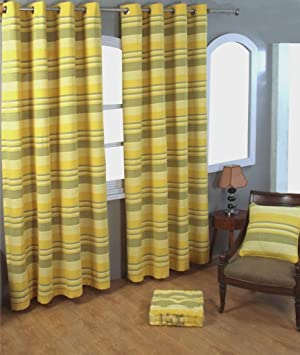 Homescapes 1 pair of Morocco Ribbed Stripe Curtains Yellow, 90 ...