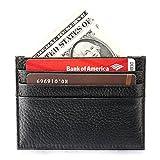 Nero Pelle Cuoio Piccolo Sottile Porta Tessere CompattoPortafoglio Porta Carte di Credito e Soldi Tasche 6 Tasche Carte